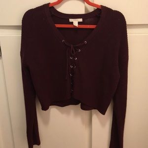 Sweaters - Forever 21 Tie-up Cropped Knit Sweater
